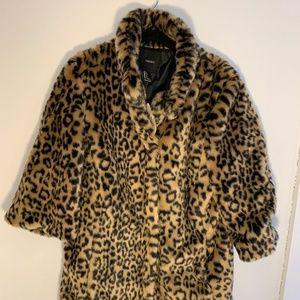 Forever 21 leopard faux fur coat